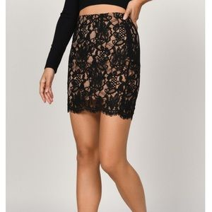 Black nude lace skirt